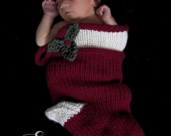 Christmas Stocking Knitting Pattern -- Instant Download PDF