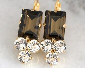 Smokey Quartz Earrings,Swarovski Drop Earrings,Chocolate Brown Earrings,Bridal Brown Earrings,Bridesmaids Earrings,Smokey Quartz Droplets
