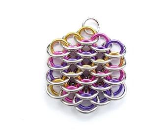 Chain Maille Pendant, Multicolor Pendant, Mini Dragonscale Pendant, Jump Ring Jewelry