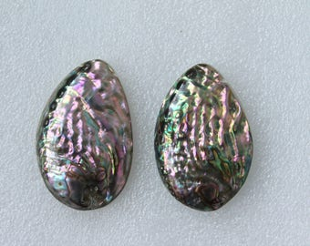 Large Natural Abalone Shell Pendant Beads - 2 Pcs