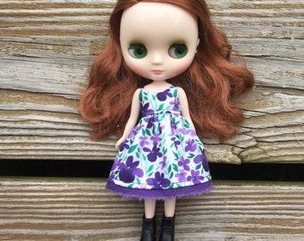 Purple Flower Middie Blythe Dress