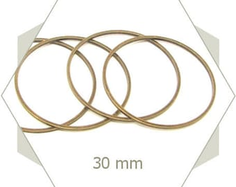 12 close-rounded-ring 30mm bronze coloured, connector, smooth circles, weaving frame, BB63