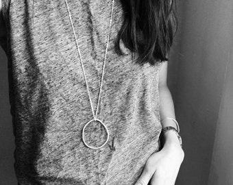 Long Geometric Pendant Necklace, Modern long Necklace