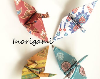 100 Origami Cranes / 4 oriental patterned design / Decoration / wedding / Party / Baby shower / Japanese style / Gif