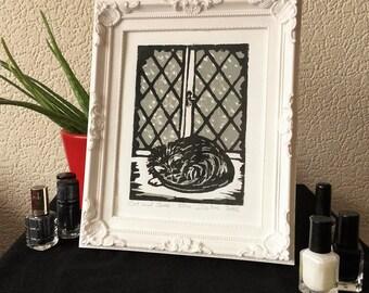 Cat and Snow Print