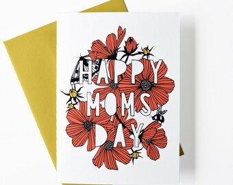 Mother's Day card, Mom's day card, Mother's Day gift, floral greeting card, greeting card, card for mom, card for her, papercutting art