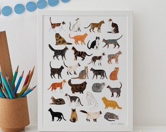 Cat Print, Cat wall art, cat art, giclee print, cat nursery art, cat lover gift, cat illustration, cat poster, cat lover gift, pet art, cats