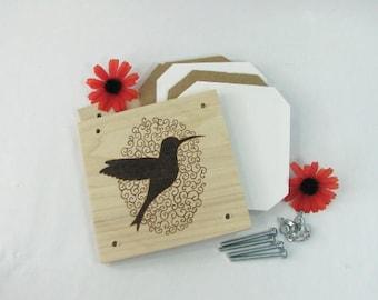 Flower Press. Humming Bird Swirl. Wood Pyrography. Gardening Gift. Teacher Gift. Mother's Day Gift. Flower Garden Art