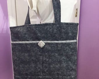 Black and Gray Small Zippered Tote Free Shipping in the US