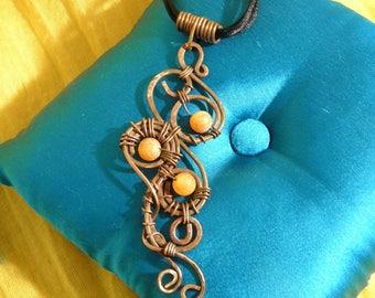 Artisan Copper Pendant with Agate, Original design, Wire wrapped pendant, Gemstone jewelry. Boho Jewelry.