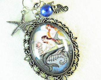 Silver Pendant Necklace ,  Mermaid Image Pendant With Charms and Pearls Womens Gift Handmade