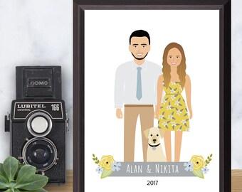 Custom Illustration, Couple Drawing, Unique Anniversary Gift, Pet Portrait, Custom Wall Art, Printable Digital File