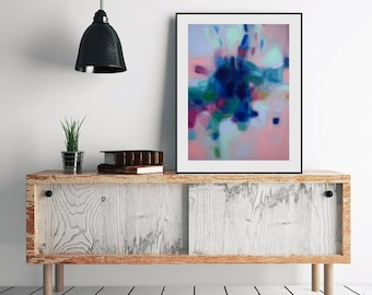 """XL abstract art, turquoise and navy blue abstract painting, original or art print on paper or canvas, horizontal or vertical art 36""""x48"""""""