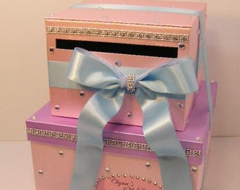 Wedding Card Box Light Pink,Lavender,Light Blue Sweet 16, ,Gift Card Box Money Box  Holder--Customize your color