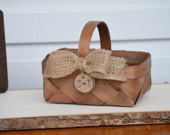 rustic flower girl basket, country wedding flower girl basket, western wedding B110