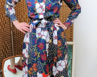 1960s/70s Handmade Bold Floral Print Collared Dress with Belt Size UK 10, US 6, EU 38