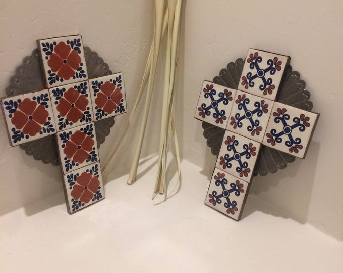 Large Spanish Colonial Style Punched Tin Cross with Talavera Tile, Antiqued, Handmade