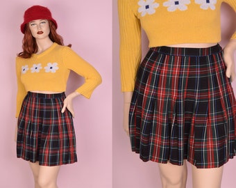 80s Plaid Pleated Skirt/ US 10/ 1980s