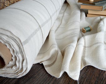 Heavy weight 100% linen fabric by the half meter - 380 gsm linen - A-027 Cream / natural linen - Softened thick linen fabric