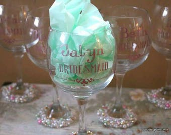 Bedazzled Wine Glass Bridesmaids Gifts