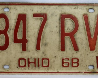 Vintage 1968 License Plate Ohio Hot Rod Muscle Car Historical Vehicle 69
