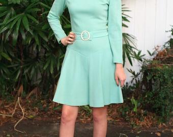 Mint Green 1960s Mod Dress