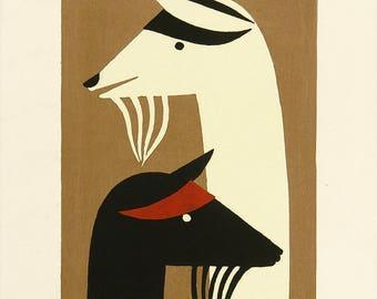 Poster - Asai Kiyoshi - Goats - 1950 - fine art gallery