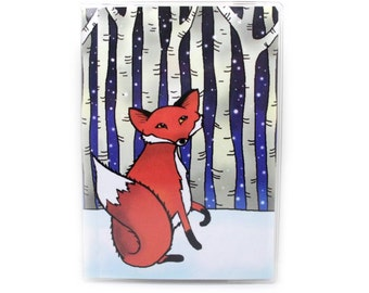 Passport Cover - Fox in a Winter Wood - passport holder - red fox - snowy woodland forest