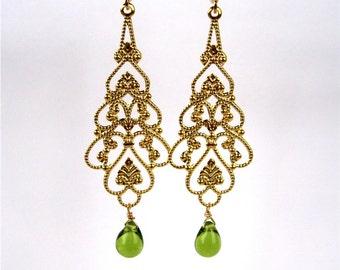 Gold Filigree Clip On Earrings, Olive Green Glass Teardrop, Long Dangle Clipons, Lightweight Clip Earrings, Avocado Green Drop, Shawna