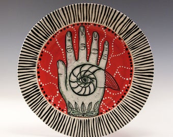 Dessert Plate - Painting by Jenny Mendes on a round ceramic dessert plate - Nautilus   in Hand