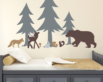 Woodland Wall Decal Woodland Nursery Forest Pine Trees Deer Bear Vinyl Wall  Decal Kids Nursery Wall Decor Nursery Decals Woodland Decals