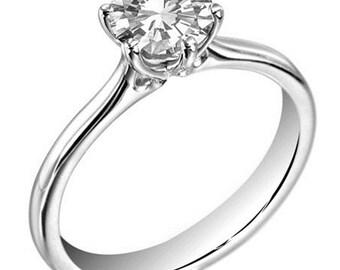 Solitaire .50ct Diamond Engagement Ring Natural Diamond Set in Platinum Gold UK Hallmarked (124)