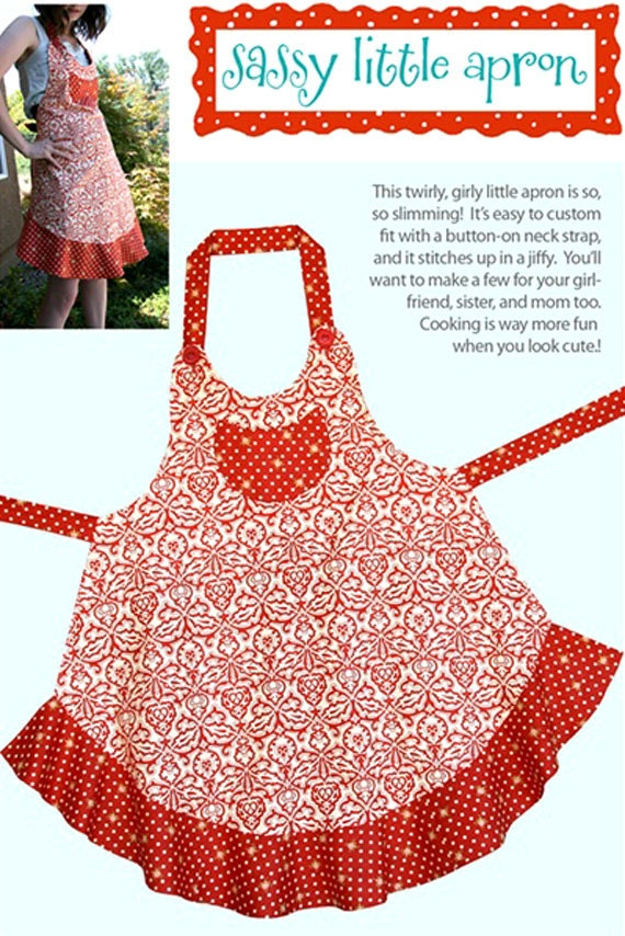 Sassy Little Apron Pattern to Make DIY Sewing Cabbage Rose Sewing ...