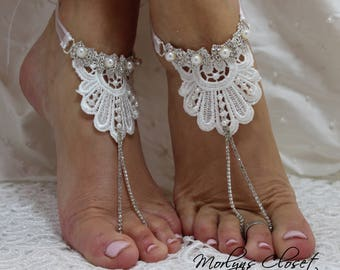 Lace barefoot sandal, Barefoot sandals, bridal barefoot sandals, Pearl barefoot sandal, white barefoot sandals, Bridal Foot Jewelry, wedding