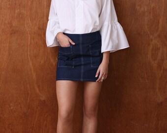 Denim Top-Stitched Mini Skirt