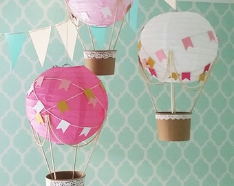 Whimsical Hot Air Balloon Decoration DIY kit HOT PINK , nursery decor , Baby shower , Baby Girl nursery , travel theme nursery - set of 3
