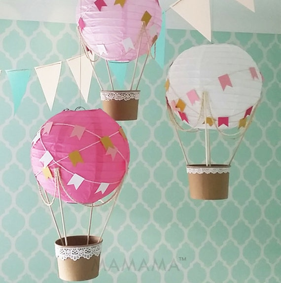 Diy Party Decoration Kit Clusters: Whimsical Hot Air Balloon Decoration DIY Kit HOT PINK