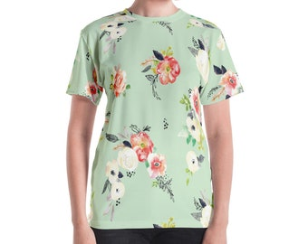 Sweet Sage Floral Watercolor Sublimated Print Women's Tee Shirt