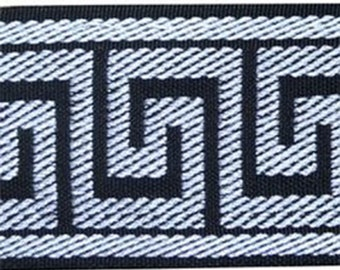 "Woven  black and white  Greek Key Jacquard trim -2,5"" wide,by the yard,decorative ribbon"
