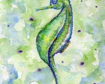 Single Seahorse Blues ORIGINAL Watercolor by Tamyra Crossley.  7 1/2 x 9 1/2.