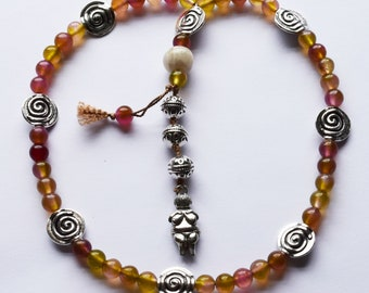 Willendorf Prayer Beads with Tourmaline Color Jade