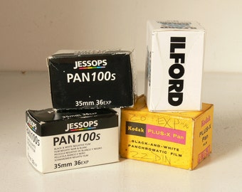 """Assortment of 35mm Camera Film - Black and White Film """"For All Conditions"""" -  Different Exposures - 4 Available"""