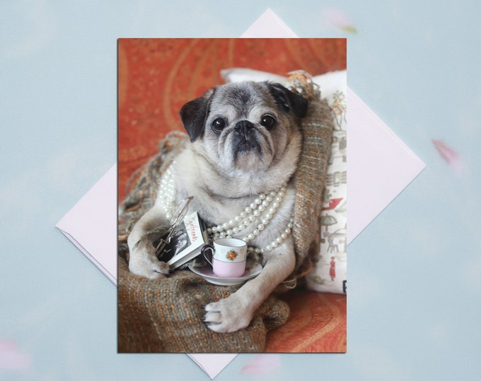 BLANK Card - Tea Time - All Occasion PUG Greeting Card- Pug Gift - Pugs and Kisses - 5x7
