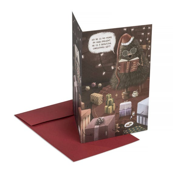 THE UGLY PRESENT Christmas card. Funny holidays card. For book addicts. Fairytale style. Ugly sweater party invitation
