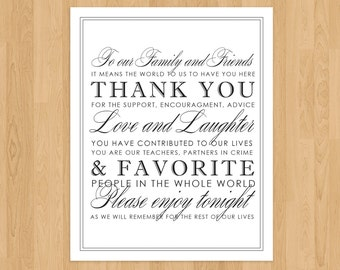 Thank You Wedding Reception Ceremony Sign Printable PDF Classic Modern Chic