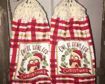 Owl Christmas Tea Towels
