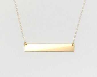 Gold Nameplate Necklace, Gold Bar Necklace in 14K Yellow, White or Rose Gold, As Seen on Kim Kardashian, Name Plate Can Be Engraved