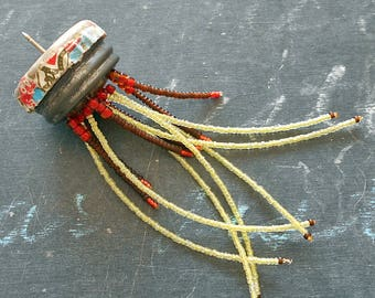 Jellyfish Found Object Assemblage Pin