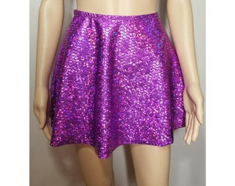 "Holographic mermaid print 14"" half circle skirt- edm- edc- festival wear- ravewear- rave clothing- rave skirt- burning man"