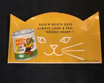Vintage Puss'N Boots Cat Food Advertising Needle Book 1960's West Germany